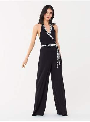 Diane von Furstenberg Ruby Swarovski-Embellished Slinky Jersey Jumpsuit