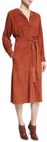 Tibi Suede Button-Front Midi Wrap Dress, Burnt Paprika