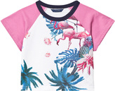GUESS White Flamingo and Floral Print Tee