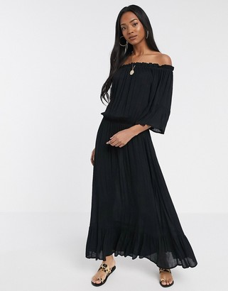 ASOS DESIGN off shoulder maxi dress in texture dobby in black