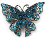 Avalaya Azure Blue Crystal Filigree Butterfly Brooch (Silver Tone)