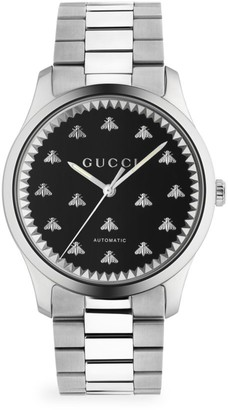 Gucci G-Timeless Automatic Stainless Steel & Genuine Black Onyx Bracelet Watch