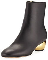 Paul Andrew Brancusi Leather Metallic-Heel Boot
