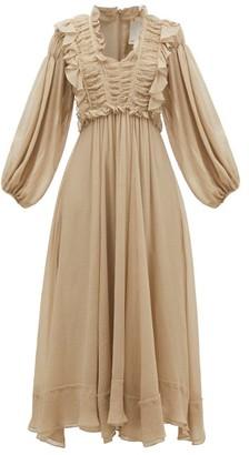 Ssone - Spirit Ruffled Crinkled-voile Midi Dress - Grey