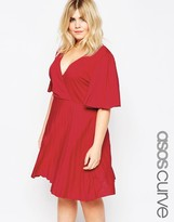 Asos Pleated Mini Dress with Flutter Sleeve
