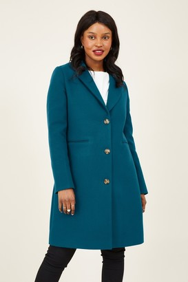 Yumi Teal Crombie Coat With Heart Lining