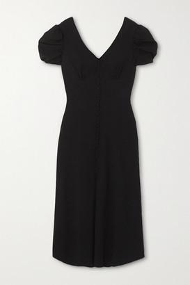 Saloni Margot Button-embellished Crepe Midi Dress - Black