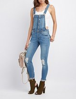 Charlotte Russe Refuge Button-Front Destroyed Overalls