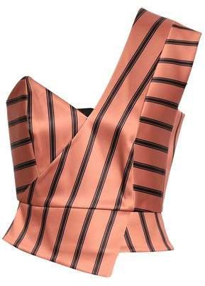 Mason by Michelle Mason One-shoulder Striped Duchesse-satin Peplum Top