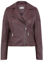 "Oasis PETITE FAUX LEATHER BIKER [span class=""variation_color_heading""]- Burgundy[/span]"