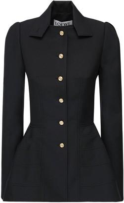 Loewe Wool Twill Milytary Peplum Jacket