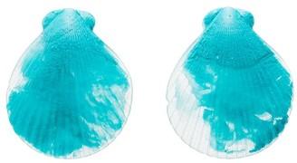 Dinosaur Designs resin fan shell earrings