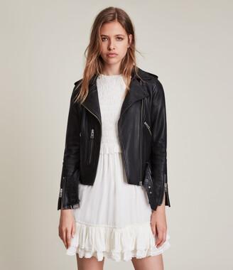 AllSaints Women's Slim Fit Balfern Leather Biker Jacket, Black, Size: UK 4/US 0