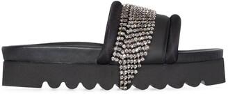 Area Crystal-Fringe Slide Sandals