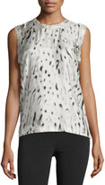 Calvin Klein Sleeveless Printed Viscose Top, Beige