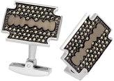 Jan Leslie Marcasite Razer Cuff Links, Silver