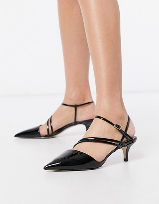 Call it SPRING monae kitten heel strappy pointed court shoes in black