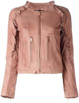 Diesel ruffle trim leather jacket - women - Cotton/Lamb Skin/Acetate - L