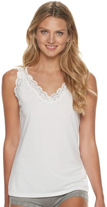 Lunaire Women's V-neck Tank Camisole with Scalloped Lace Trim