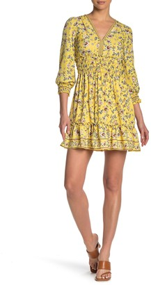 Max Studio Floral Print Smocked Waist Dress