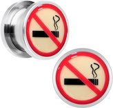 Body Candy Stainless Steel No Smoking Glow in the Dark Screw Fit Plug Pair 1/2""