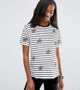 Asos T-Shirt With Star Badges And Stripe