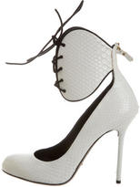 Sergio Rossi Snakeskin Lace-Up Pumps