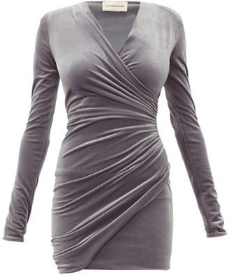 Alexandre Vauthier Draped Wrap-style Velvet Mini Dress - Grey