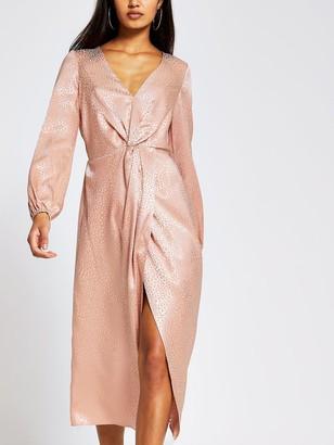 River Island Knot Front Animal Jacquard Midi Dress - Blush