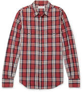 Saint Laurent Slim-Fit Checked Cotton, Ramie and Linen-Blend Shirt