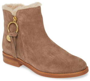 See by Chloe Louise Genuine Shearling Lined Flat Bootie