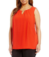 Calvin Klein Plus Sleeveless Pleat Neck Top w/ Chain Detail