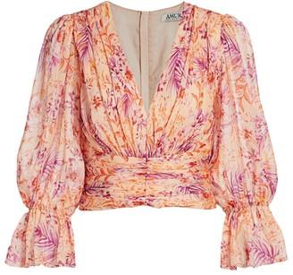 AMUR Gitana Floral Silk Cropped Blouse