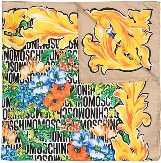 Moschino Floral Print Silk Scarf