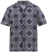 The Gigi - Utah Paisley-print Cotton-poplin Shirt - Mens - Navy White