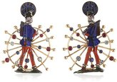 Francesca Villa 18 ct Rose Gold Rubies, Blue Sapphires and Blue Topaz Antique Toy Soldier Earrings of Length 3.5 cm
