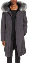 Gallery Women's Hooded Water Repellent Long Storm Coat With Faux Fur Lining & Trim