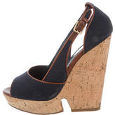 Saint Laurent Canvas Peep-Toe Wedges