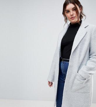 Asos DESIGN Curve textured slim coat-Grey