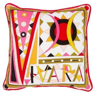 Emilio Pucci Vivara-print Cotton-terry Cushion - Womens - Pink Multi