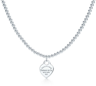 Tiffany & Co. Return to TiffanyTM small heart tag in sterling silver on a bead necklace