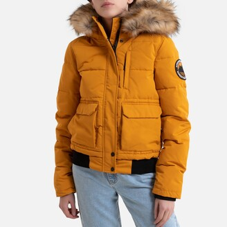 Superdry Zip-Up Padded Jacket with Faux Fur Hood