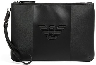 Emporio Armani Embossed Leather Pouch Bag