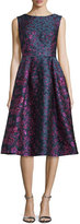 Talbot Runhof Locomotion Sleeveless Brocade Scoop-Back Dress, Purple