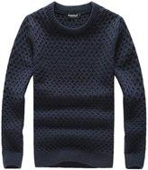 QZUnique Men's Casual Slim Fit Crew Neck Sweater Big and Tall Navy XL
