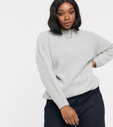 New Look Plus Curve crew neck boxy sweater in gray