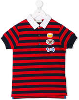 Fendi embroidered patch striped polo shirt