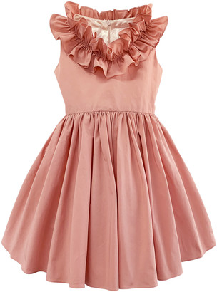 Helena Girl's Taffeta Ruffle Neck Dress, Size 2-6