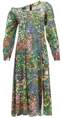 Natasha Zinko Off-shoulder Floral-print Satin Dress - Womens - Multi