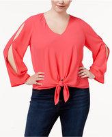 Rachel Roy Trendy Plus Size Tie-Front Top